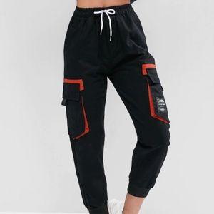 Pants - Drawstring parched slogan pants